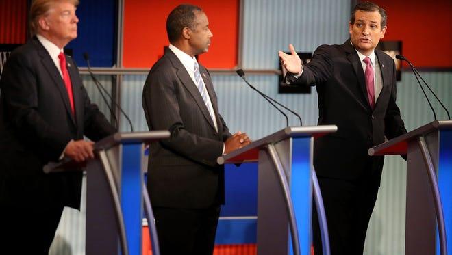 Donald Trump, Ben Carson, and Ted Cruz during a recent debate.