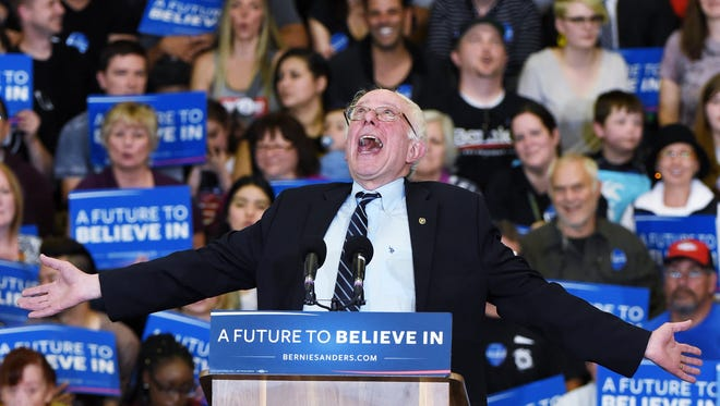 Democratic presidential candidate Sen. Bernie Sanders, I-Vt., jokes around at a campaign rally Feb. 14, 2016 in Las Vegas.