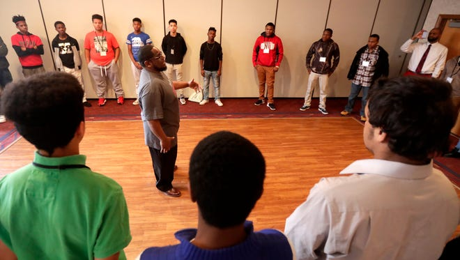 """Mr. """" I'm Possible"""" Keith Brown leads a breakout session Thursday at the African Heritage Emerging Student Leaders Institute at Liberty Hall in Kimberly."""