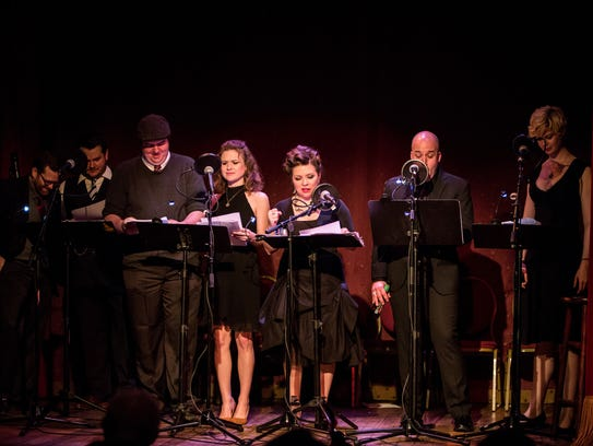 Cast members of Fireside Mystery Theatre perform original