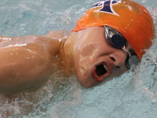A member of the Central High School boys 400-yard freestyle