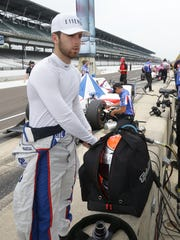 Dale Coyne Racing IndyCar driver Ed Jones (19) during practice for the Indianapolis 500 Friday, May 19, 2017, afternoon at the Indianapolis Motor Speedway.