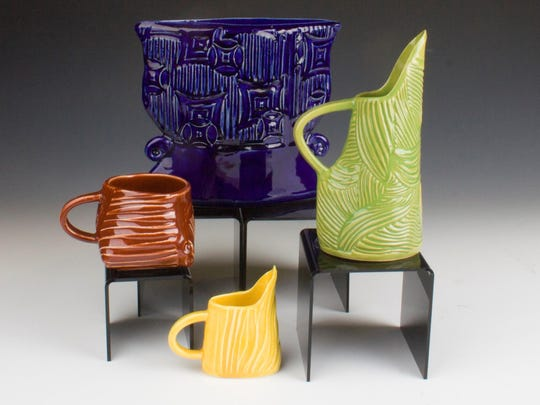 """Ceramic vessels by Lynn Wood, whose work is featured in """"Art Show 11: The Pottery Showcase"""" Nov. 4 at Plum Bottom Pottery & Gallery."""