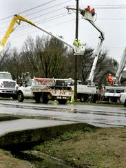 This file photo shows a crew of Murfreesboro Electric