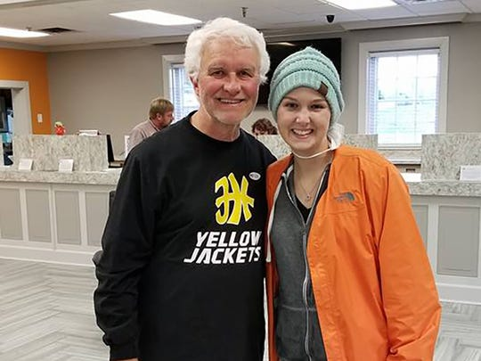 Heather Simmons visits with her former Fairview High