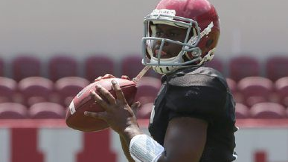 Alabama coach Nick Saban has indicated that Blake Sims has a slight lead of Jacob Coker for the starting quarterback spot this season.