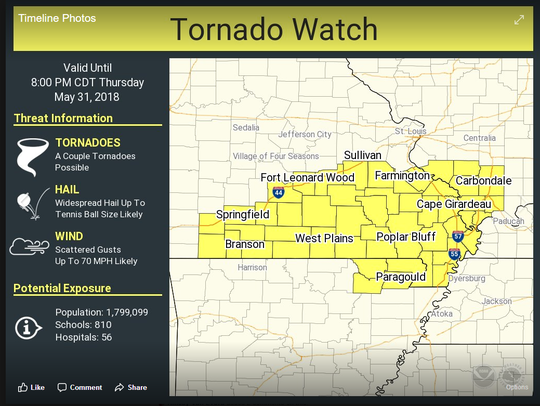 A tornado watch has been issued for these counties