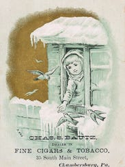 A trade card from Charles Bautz pipes and tobacco shop