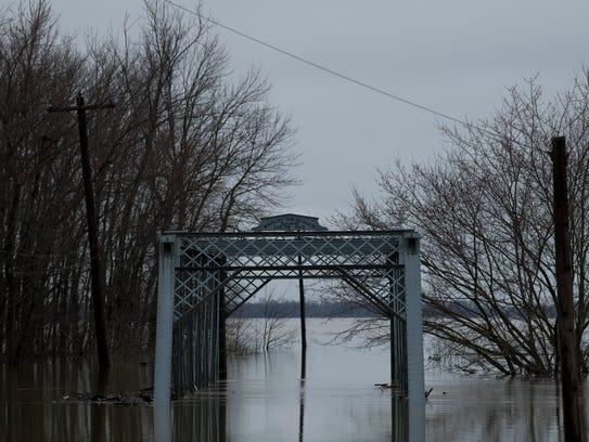A bridge spanning Little Pigeon Creek in Yankeetown,