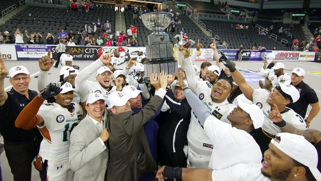 The Rattlers celebrate their Indoor Football League United Bowl title after beating the Sioux Falls Store on July 8, 2017 in Sioux Falls, South Dakota.