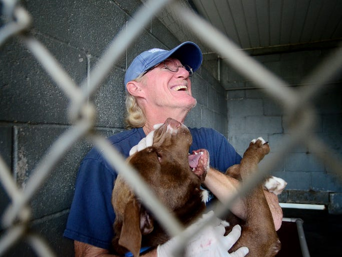 Southern Pines Animal Shelter employee David Adams plays with one of the dogs Monday at the animal shelter located at 1901 N. 31st Ave. Southern Pines is one of the top competitors in the American Society for the Prevention of Cruelty to Animals Rachael Ray $100K Challenge.