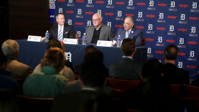 Chris Ilitch, Ron Gardenhire and Al Avila take questions after Gardenhire was introduced as the new Tigers manager on Oct. 20, 2017 at Comerica Park.