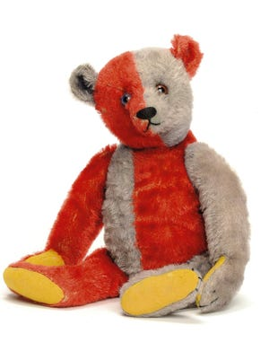 Steiff plush animals from Paul Greenwood's collection were auctioned at Christie's in London. A half-red, half-blue harlequin bear made around 1925 sold for around $74,164. The auction raised $1.7 million for Greenwood's victims.