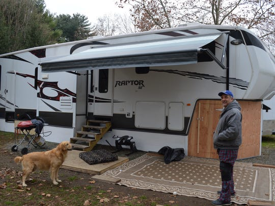 Frank Lingardo lives in his RV with his son and dog.