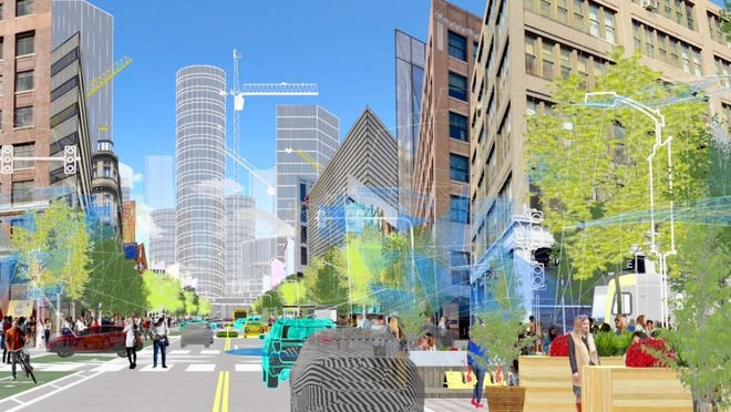 """Ford imagines a network of technologies they call the Transportation Mobility Cloud, which the automaker is developing with Silicon Valley start-up Autonomic. At the center is a """"cloud""""-based platform that Ford thinks can improve city streets by using advanced data-sharing and, of course, self-driving cars."""