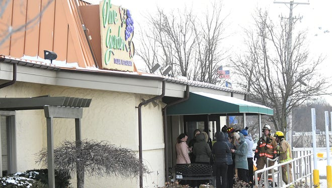 Patrons and employees of the Olive Garden Restaurant in Ontario evacuated when a small heating caught fire Wednesday afternoon.