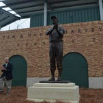 Brookhaven sculptor Kim Sessums' bronze statue of Boo Ferriss was unveiled Saturday, capturing Ferriss in mid-clap.