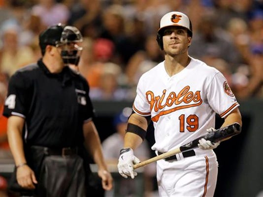Baltimore's Chris Davis walks off the field after striking out looking in the fourth inning against the New York Mets on Tuesday in Baltimore. New York won 5-3.