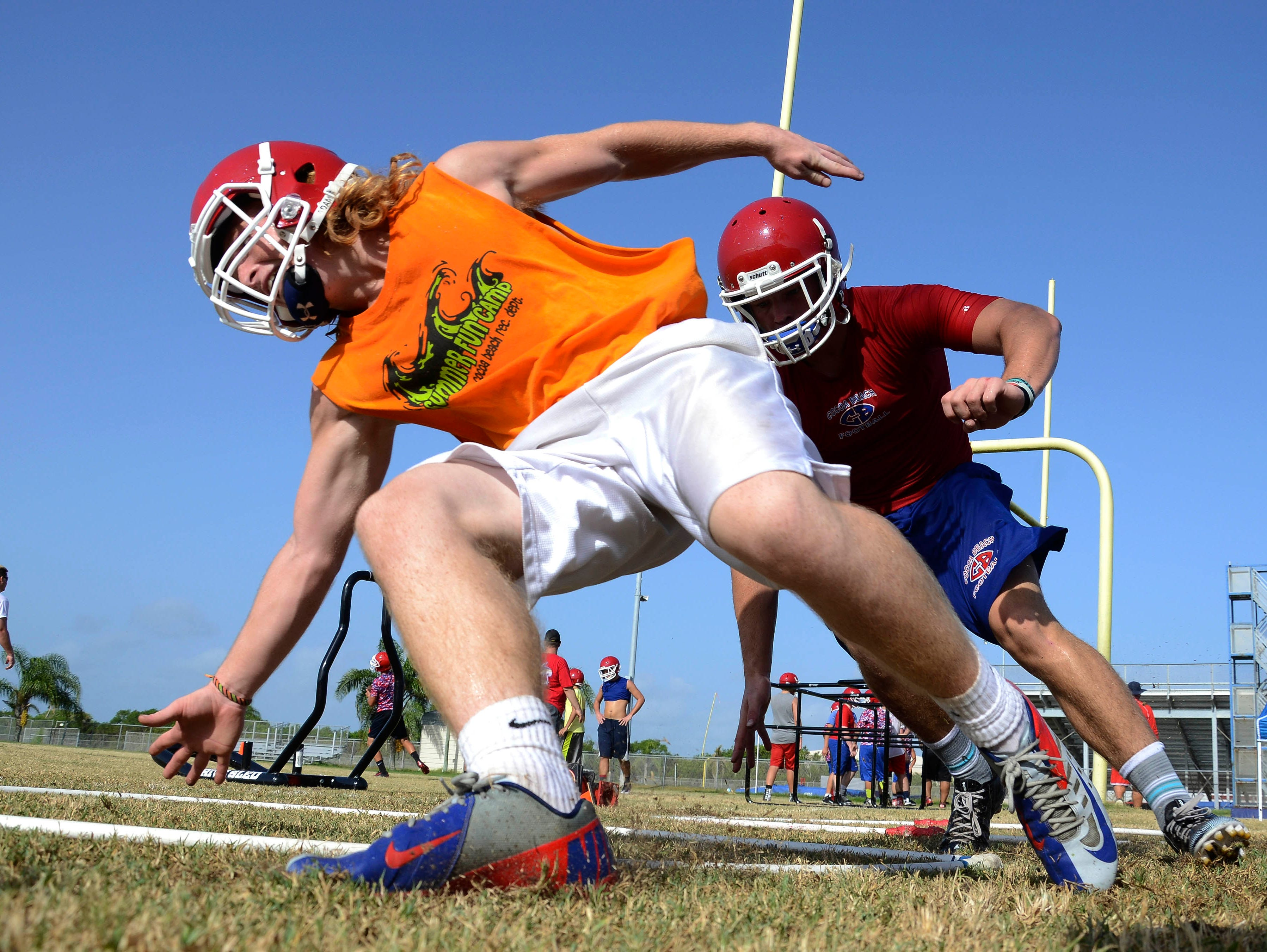 Cocoa Beach players run through drills during practice Tuesday morning.