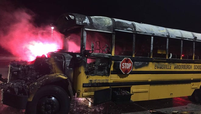 An Evansville Vanderburgh School Corporation sustained heavy damage in a fire Tuesday night, Dec. 6, 2016.