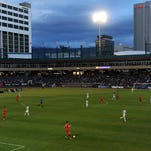 Liverpool FC U21 takes on Sacramento Republic FC during their exhibition match at Greater Nevada Field in Reno on May 25, 2016.