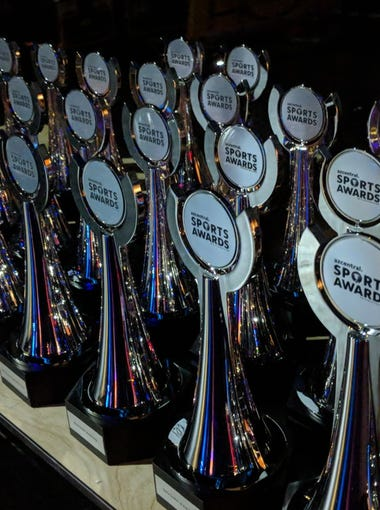 Trophies are lined up back stage at ASU Gammage for the azcentral Sports Awards on Sunday, June 10, 2018.