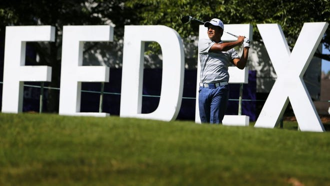 Fabian Gomez hits from the 13th tee box during a practice round for the 2016 FedEx St. Jude Classic at TPC Southwind.