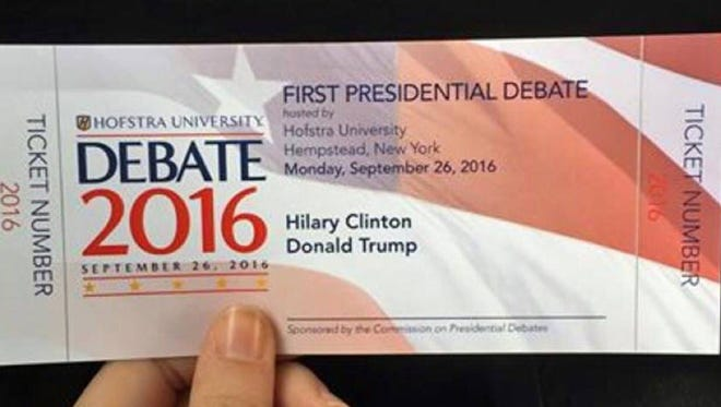 Hillary Clinton's name is misspelled on the commemorative tickets for Monday's debate.