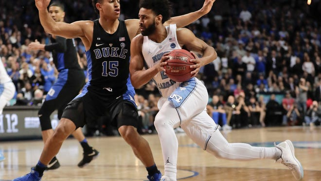 North Carolina guard Joel Berry II (2) drives against Duke guard Frank Jackson (15) in the second half of an NCAA college basketball game during the semifinals of the Atlantic Coast Conference tournament, Friday, March 10, 2017, in New York. (AP Photo/Julie Jacobson)