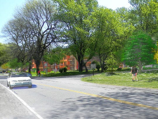 A view of the proposed Cobbs Hill Village redevelopment from Norris Drive.