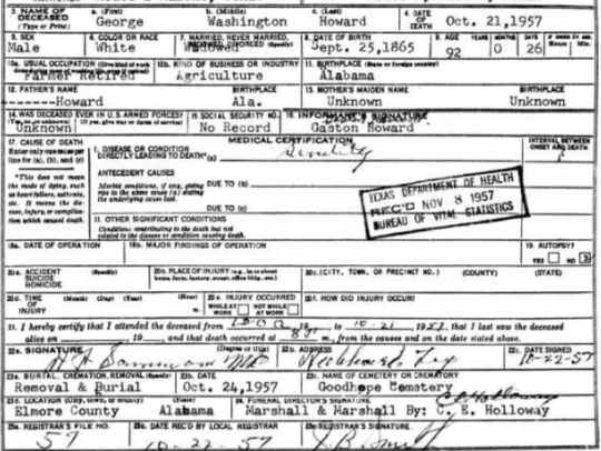 George Howard's death certificate, issued in Texas