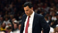 Arizona Wildcats head coach Sean Miller looks on during