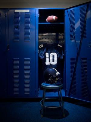 A football locker room.