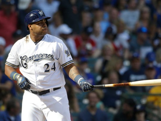 'Cerveceros Day' at Miller Park, honoring Hispanic heritage, was Saturday for Jesus Aguilar and the Milwaukee Brewers.