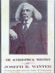 An advertisement card promotes Joseph R. Winters' autobiographical