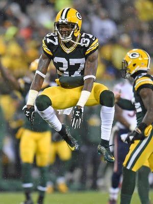 Green Bay Packers cornerback Sam Shields (37) celebrates against the Chicago Bears at Lambeau Field.