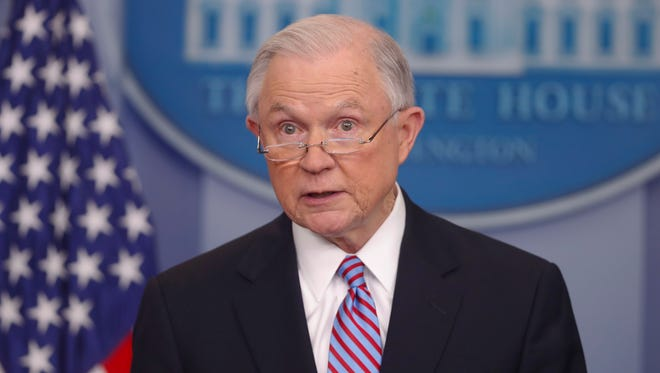 Attorney General Jeff Sessions speaks to reporters at the White House on March 27, 2017.