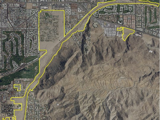 This map shows the area populated by the Casey's June Beetle, which is indigenous to Palm Springs. It's designed as an endangered species due to its dwindling habitat, officials say.