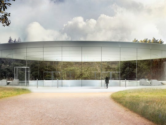 A sketch of the Steve Jobs Theater at Apple Park, where