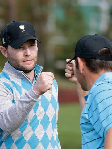 Branden Grace and Louis Oosthuizen of South Africa
