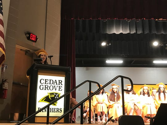 Deanna DeCorte speaks to her peers at the Cedar Grove
