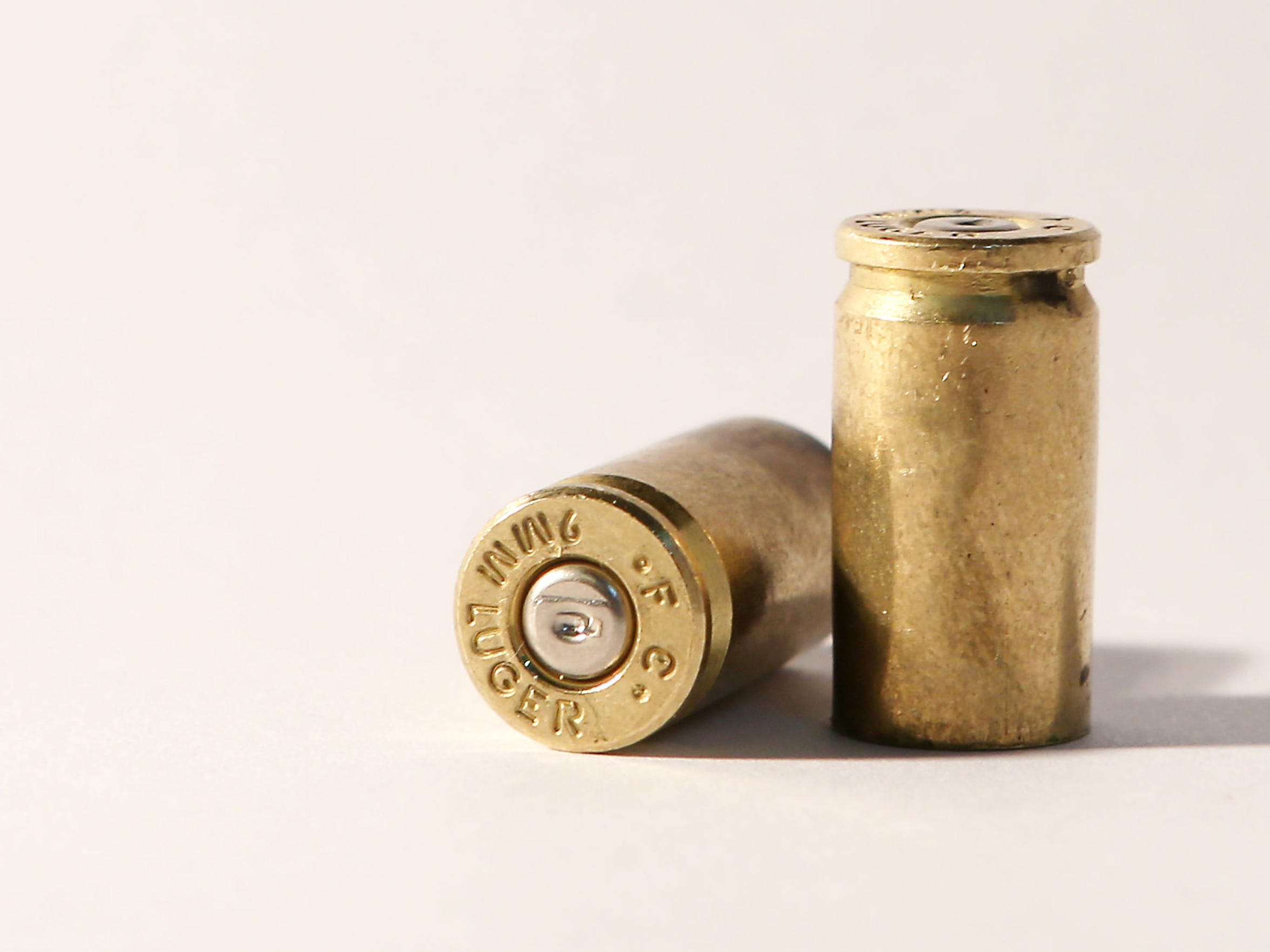 A photograph of 9mm bullet casings, provided by Second