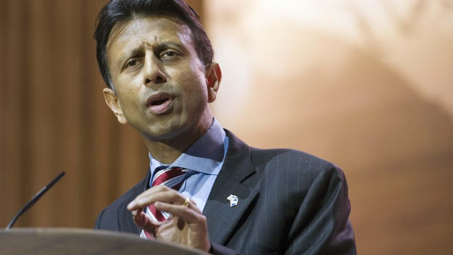 FILE - In this March 6, 2014, file photo, Louisiana Gov. Bobby Jindal speaks at the Conservative Political Action Committee annual conference in National Harbor, Md. Jindal is finishing his final days as Louisiana's governor. (AP Photo/Cliff Owen, File)