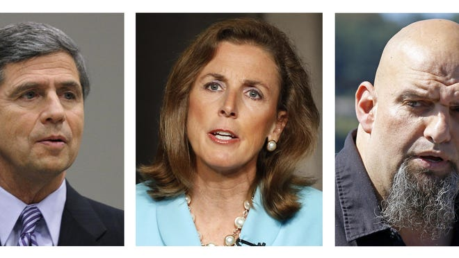 In this undated photo combination, shown from left are: Democratic Senate candidates Joe Sestak, Katie McGinty, and Braddock, Pa., Mayor John Fetterman, who are running for their party's nomination in the April 26, 2016 primary election. The winner of this contest aims to unseat first-term U.S. Sen. Pat Toomey R-Pa., in the fall election. (AP Photo)