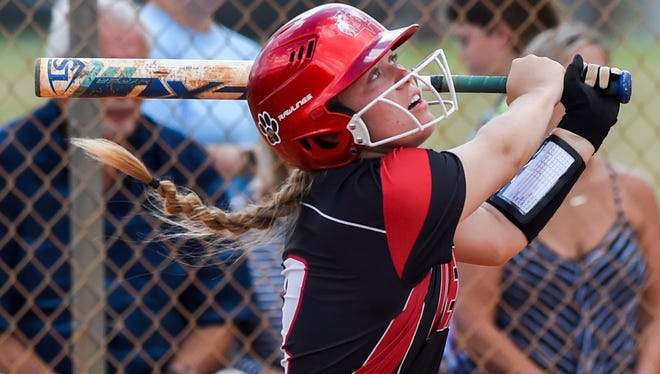 Vero Beach's Alex Jugenheimer (2) watches her hit Friday, April 27, 2018, during her team's high school softball game against Treasure Coast at Fort Pierce Central High School. To see more photos, go to TCPalm.com.