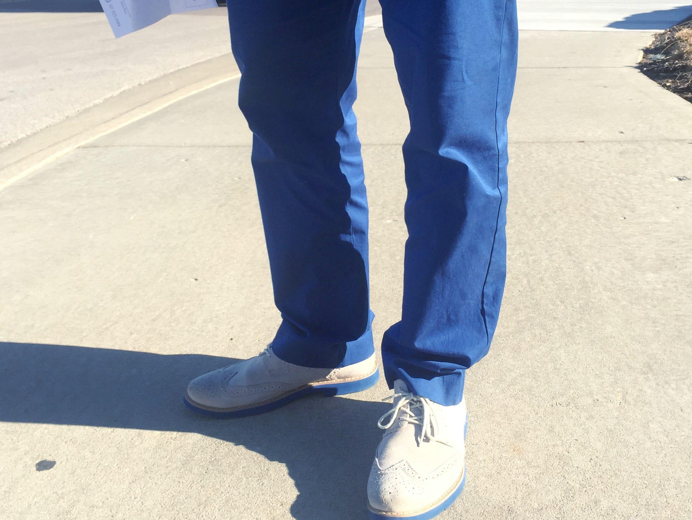 Bolivar boys basketball coach Robby Hoegh sometimes wears a pair of vivid blue slacks for the amusement of his team.