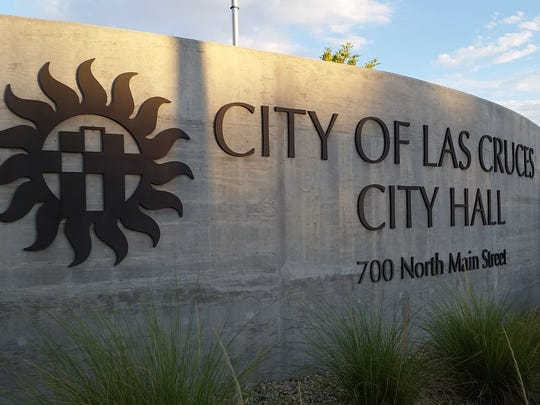 A sign is seen at the entrance of Las Cruces City Hall, 700 N. Main St., Las Cruces.
