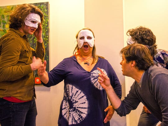 "Left to right:, actors Sean Martin, Syndi Zook, and G. Richard Ames, stand in place as Seth Jarvis (bottom right) directs a rehearsal for ""O, Caligula!"" in 2015."