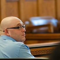 Defendent Kenneth Stahli looks around the courtroom during his trial for second-degree murder in the death of toddler Mason DeCosmo. The trial continued Friday at the Ulster County Courthouse in the City of Kingston.