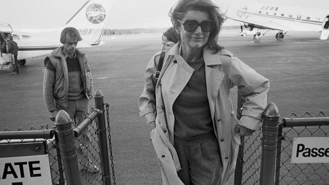 FILE -- In this Nov. 21, 1983 file photo Jacqueline Kennedy Onassis arrives at the Barnstable Airport, in Hyannis, Mass., to observe the 20th anniversary of the assassination of President John F. Kennedy. The Martha's Vineyard estate of the former first lady is being sold to a pair of nonprofits that plan on turning the property into conservation land open to the public, officials said Thursday, Sept. 3, 2020.
